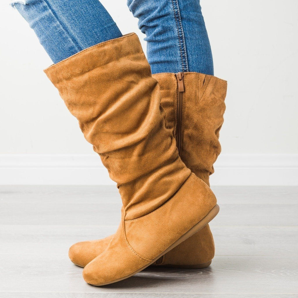 Womens Casual Slouchy Boots - Forever - Tan / 5