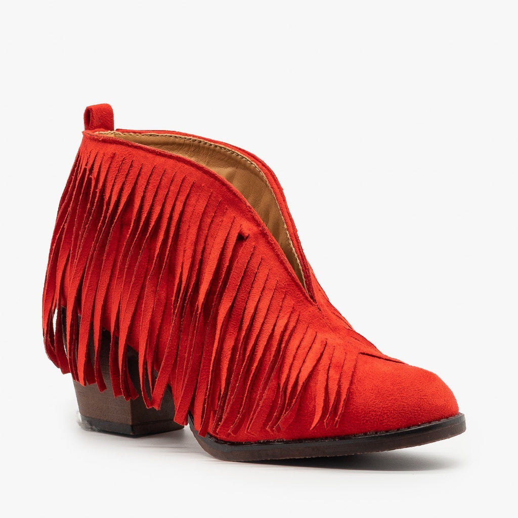 Womens Center Cut Fringe Booties - Mata - Red / 5