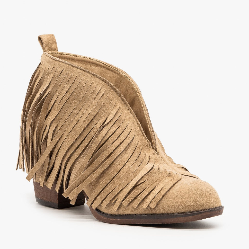 Womens Center Cut Fringe Booties - Mata - Taupe / 5