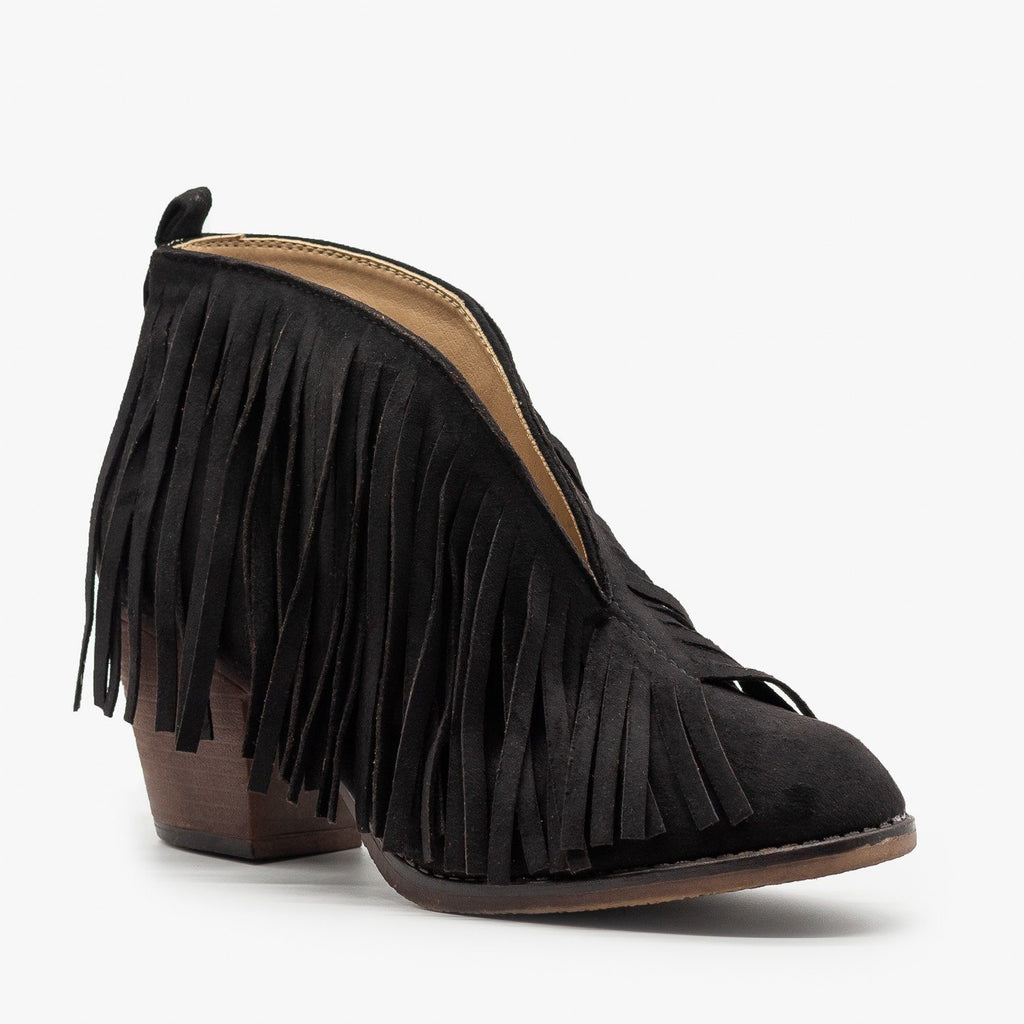 Womens Center Cut Fringe Booties - Mata - Black / 5