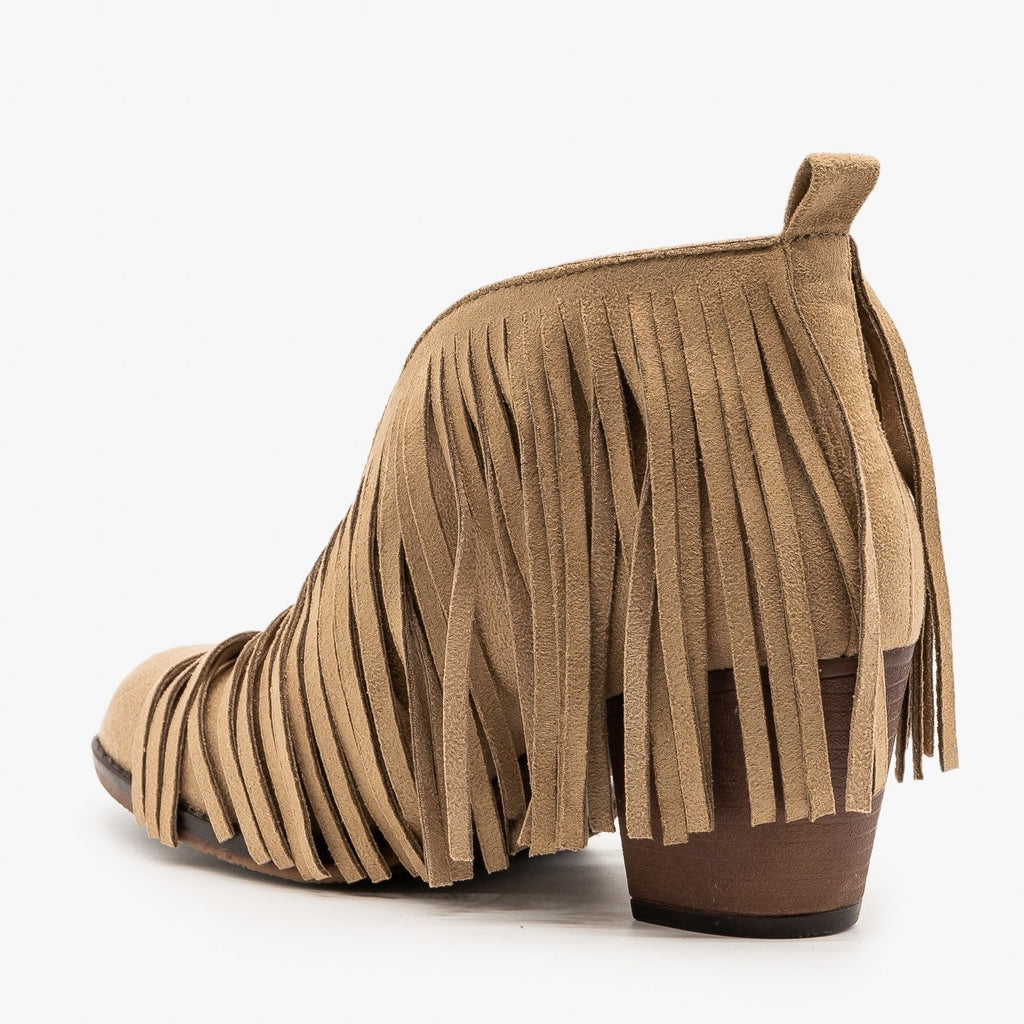 Womens Center Cut Fringe Booties - Mata