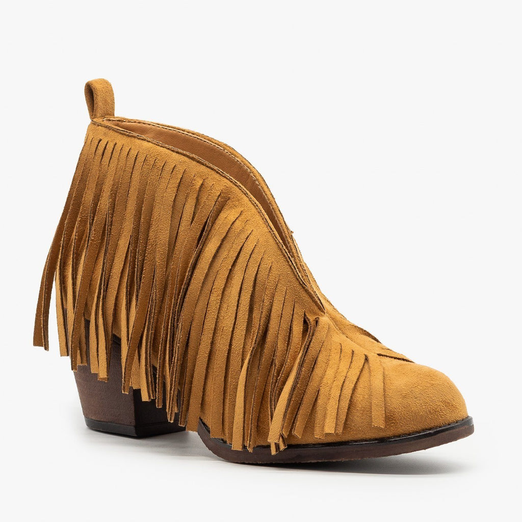 Womens Center Cut Fringe Booties - Mata - Tan / 5