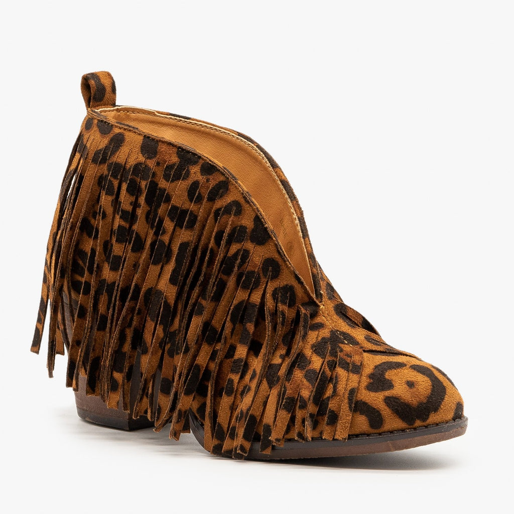 Womens Center Cut Leopard Fringe Booties - Mata - Leopard / 5