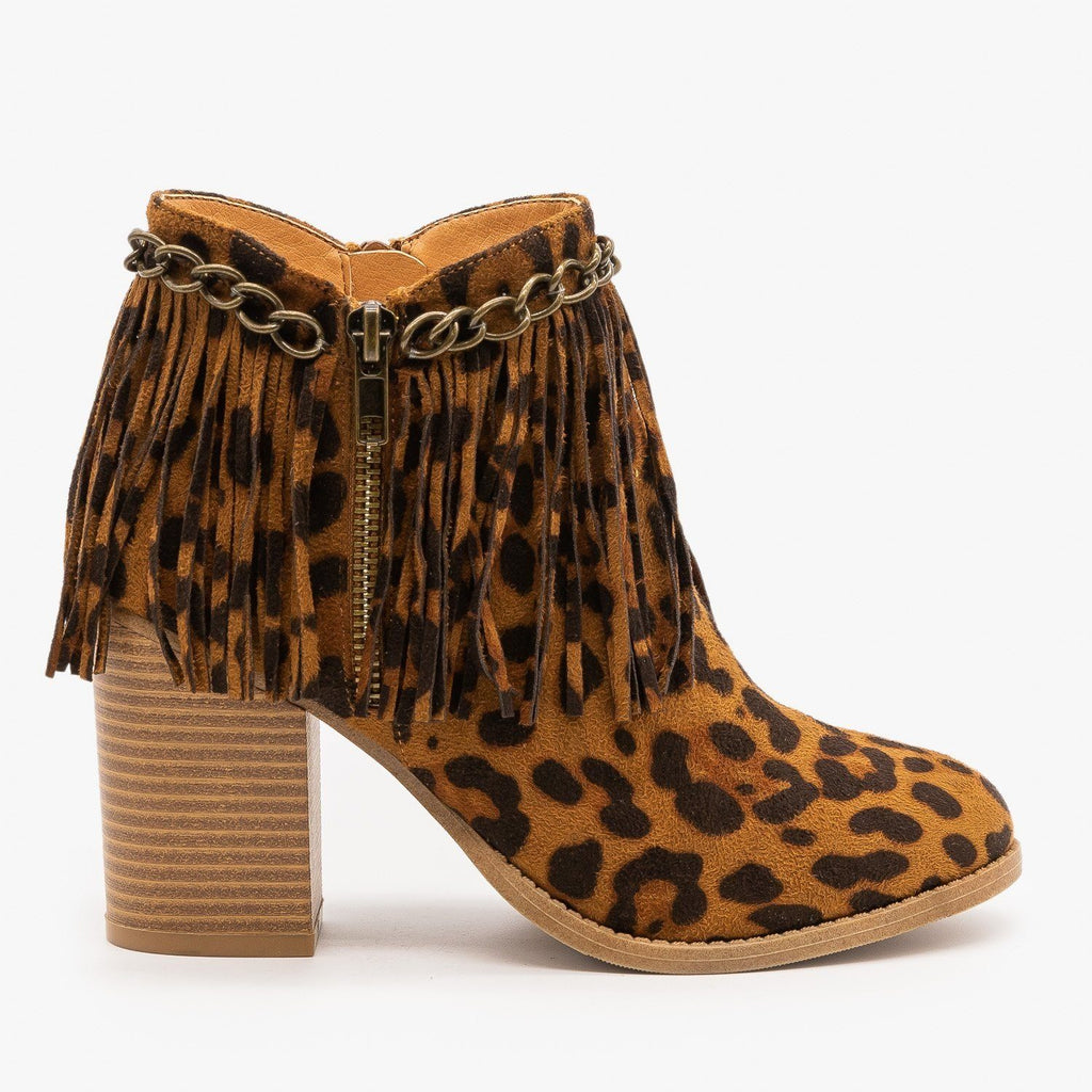 Womens Chain and Fringe Capped Leopard Booties - Mata - Leopard / 5