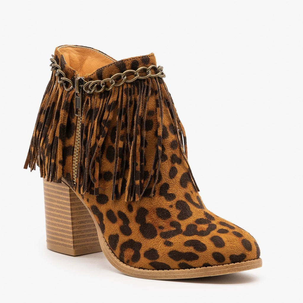 Womens Chain and Fringe Capped Leopard Booties - Mata