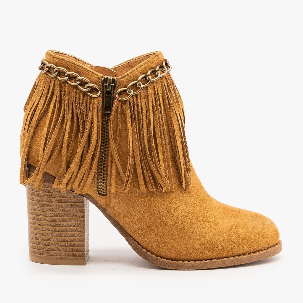Womens Chain and Fringed Capped Booties - Mata - Tan / 5