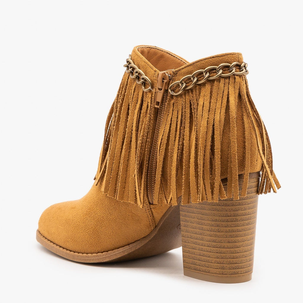 Womens Chain and Fringed Capped Booties - Mata