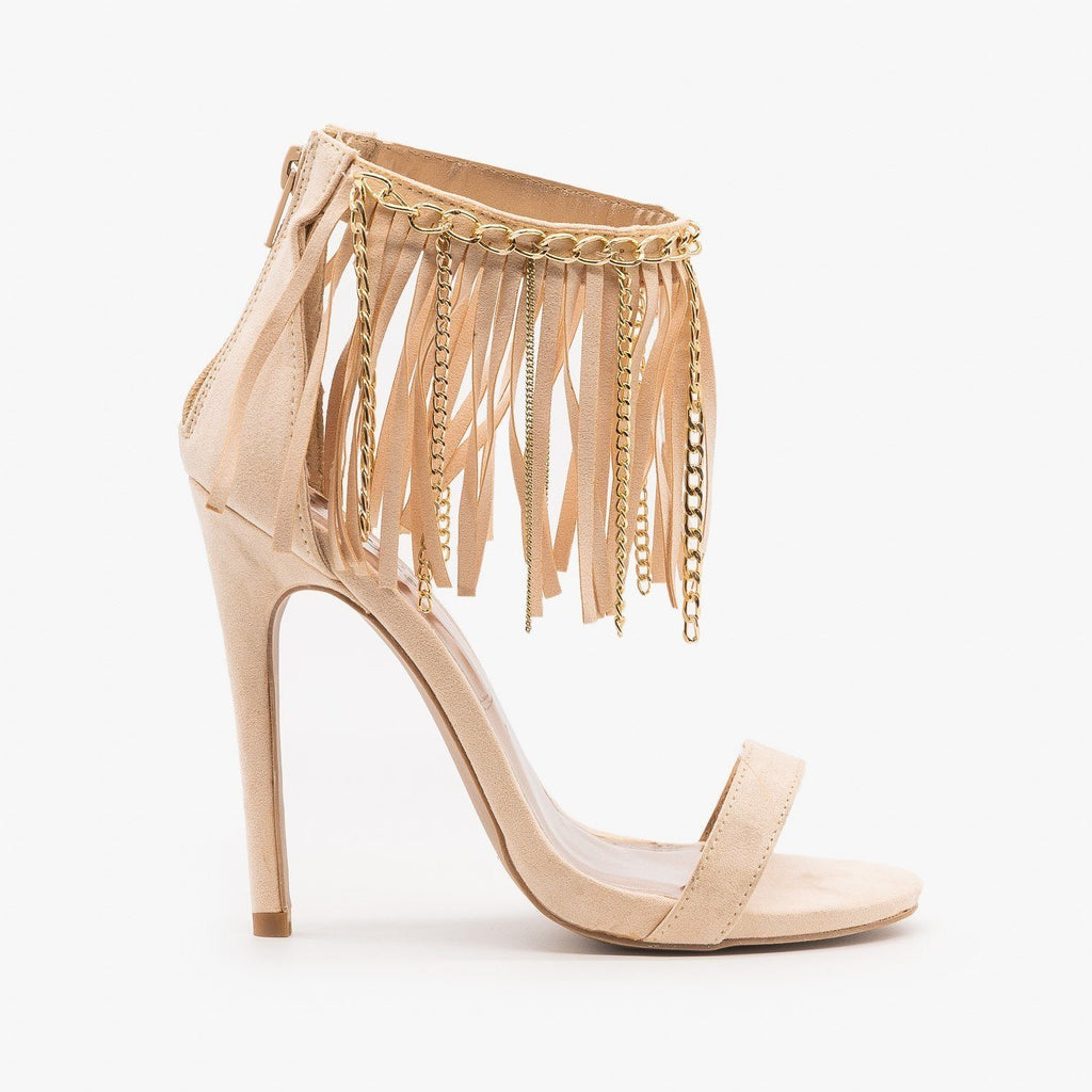Womens Chain Fringe Stiletto Heels - Qupid Shoes - Nude / 5