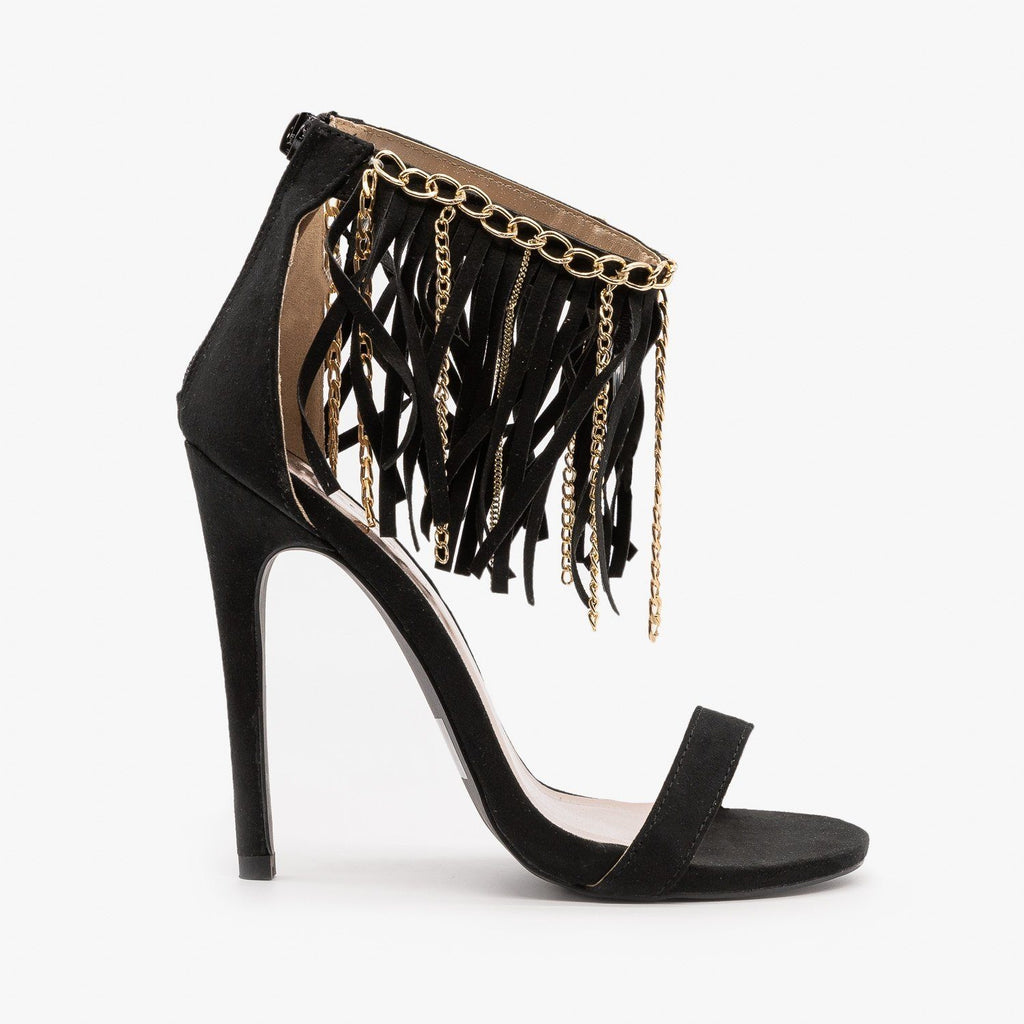 Womens Chain Fringe Stiletto Heels - Qupid Shoes - Black / 5
