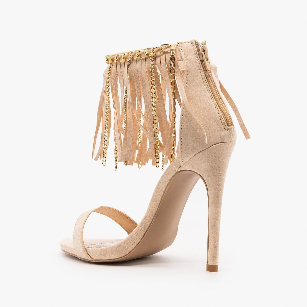 Womens Chain Fringe Stiletto Heels - Qupid Shoes