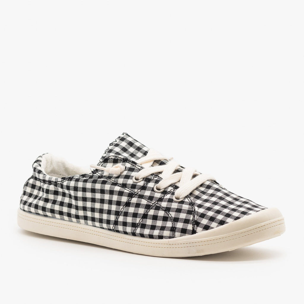 Womens Checkered Canvas Fashion Sneakers - Forever - Black White / 5