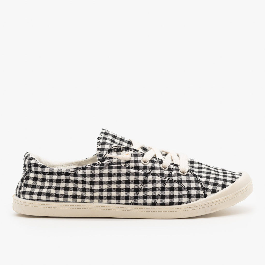 Womens Checkered Canvas Fashion Sneakers - Forever
