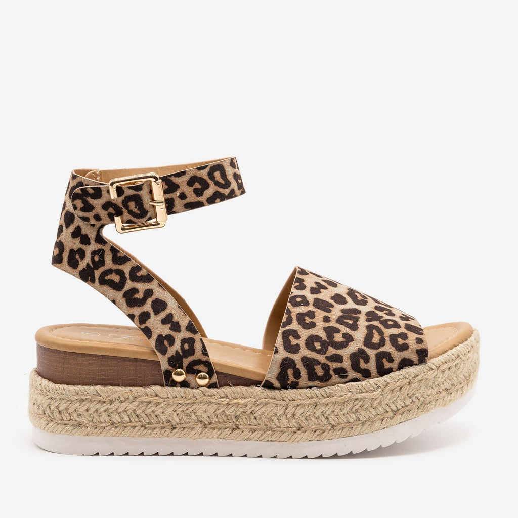 Women's Leopard Espadrille Wedge Sandals - Forever - Leopard / 5