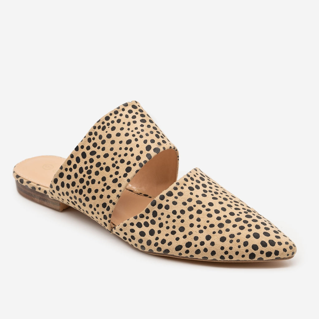 Women's Cheetah Print Cut Out Mules - Mata - Cheetah / 5