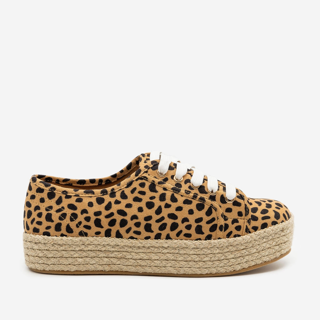 Women's Cheetah Print Espadrille Platform Sneakers - Bamboo Shoes - Cheetah / 5