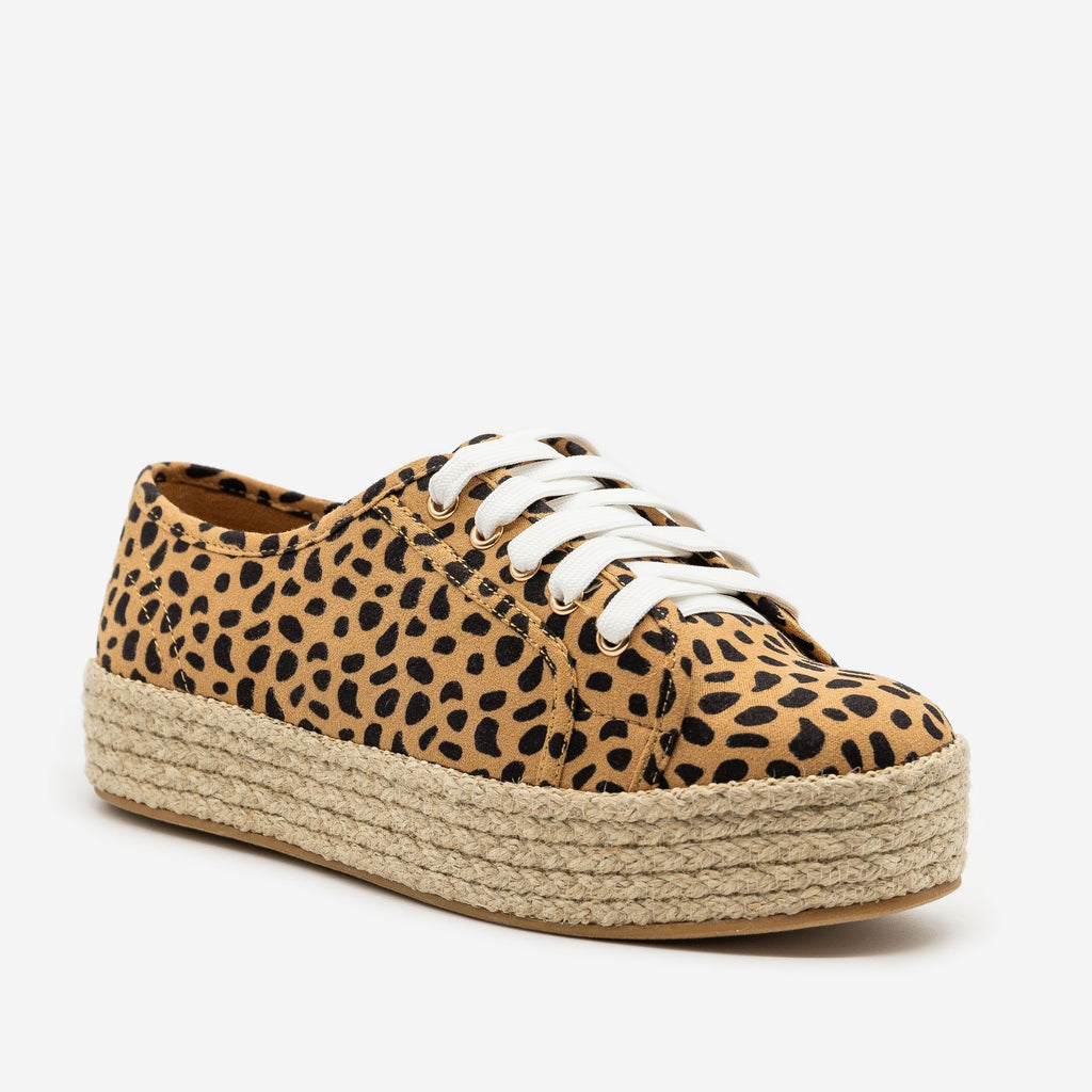 Women's Cheetah Print Espadrille Platform Sneakers - Bamboo Shoes