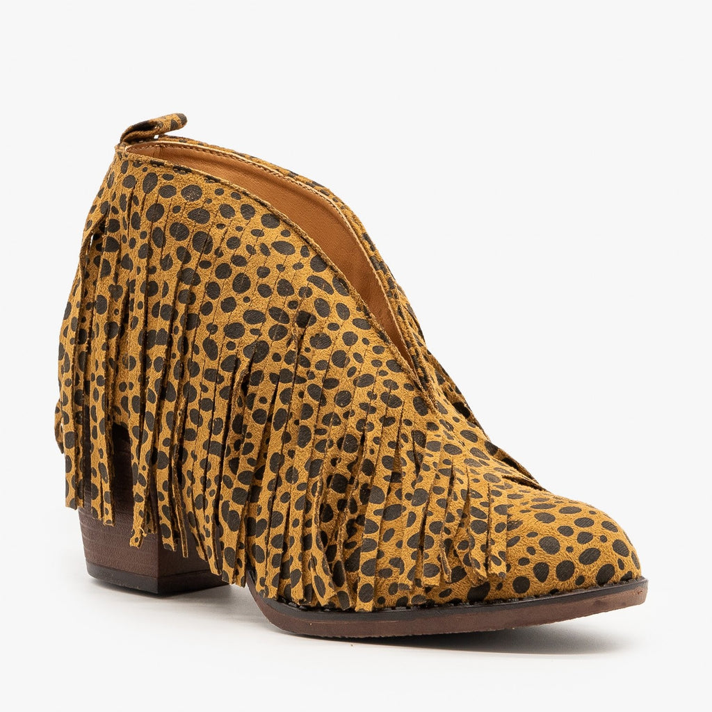 Womens Cheetah Print Fringe Booties - Mata - Cheetah / 5