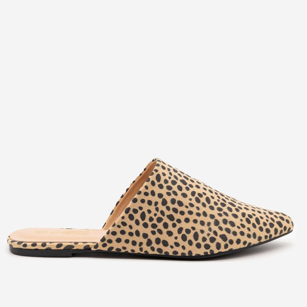 Women's Cheetah Print Pointy Toe Mules - Mata - Cheetah / 5