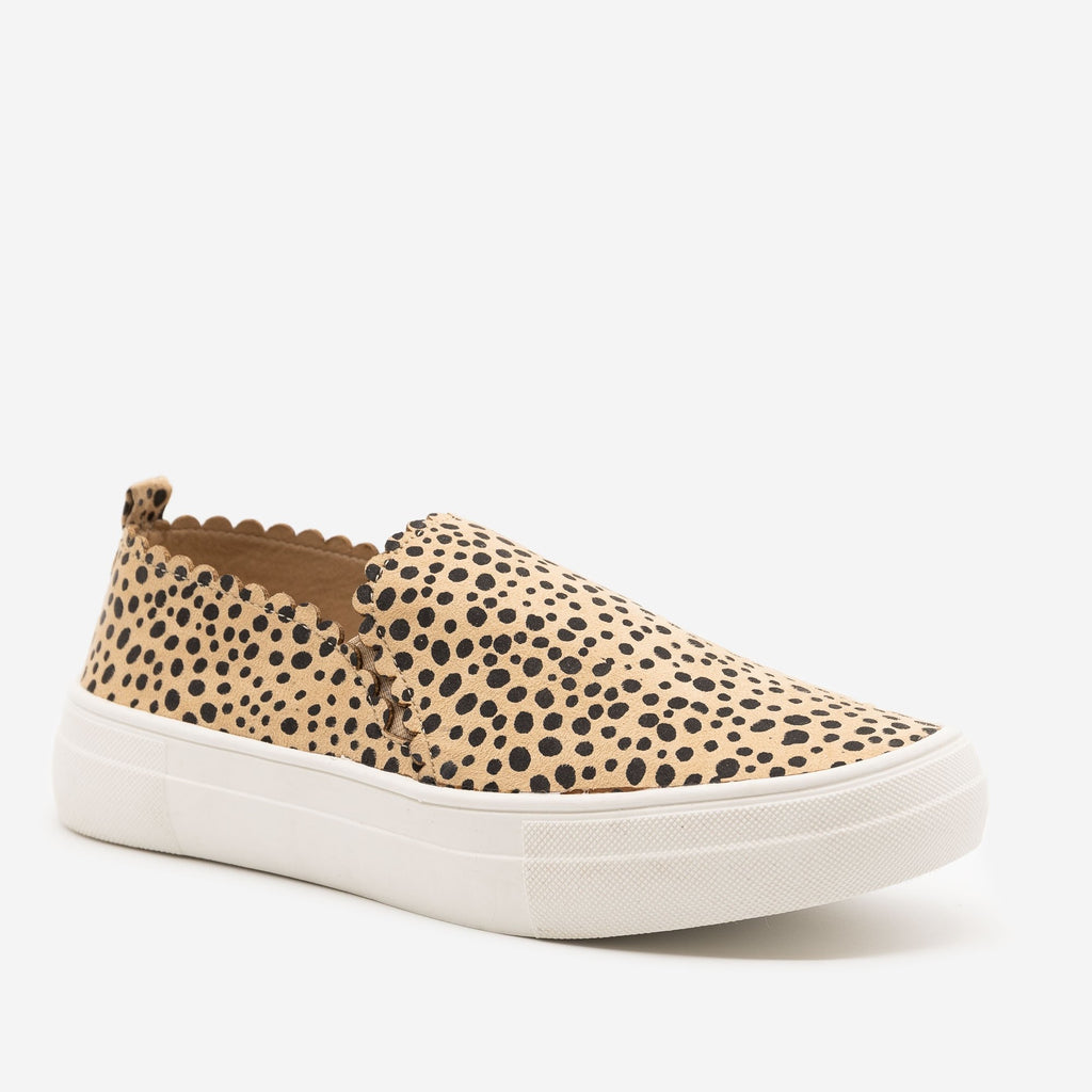 Women's Cheetah Print Scalloped Edge Sneakers - Mata