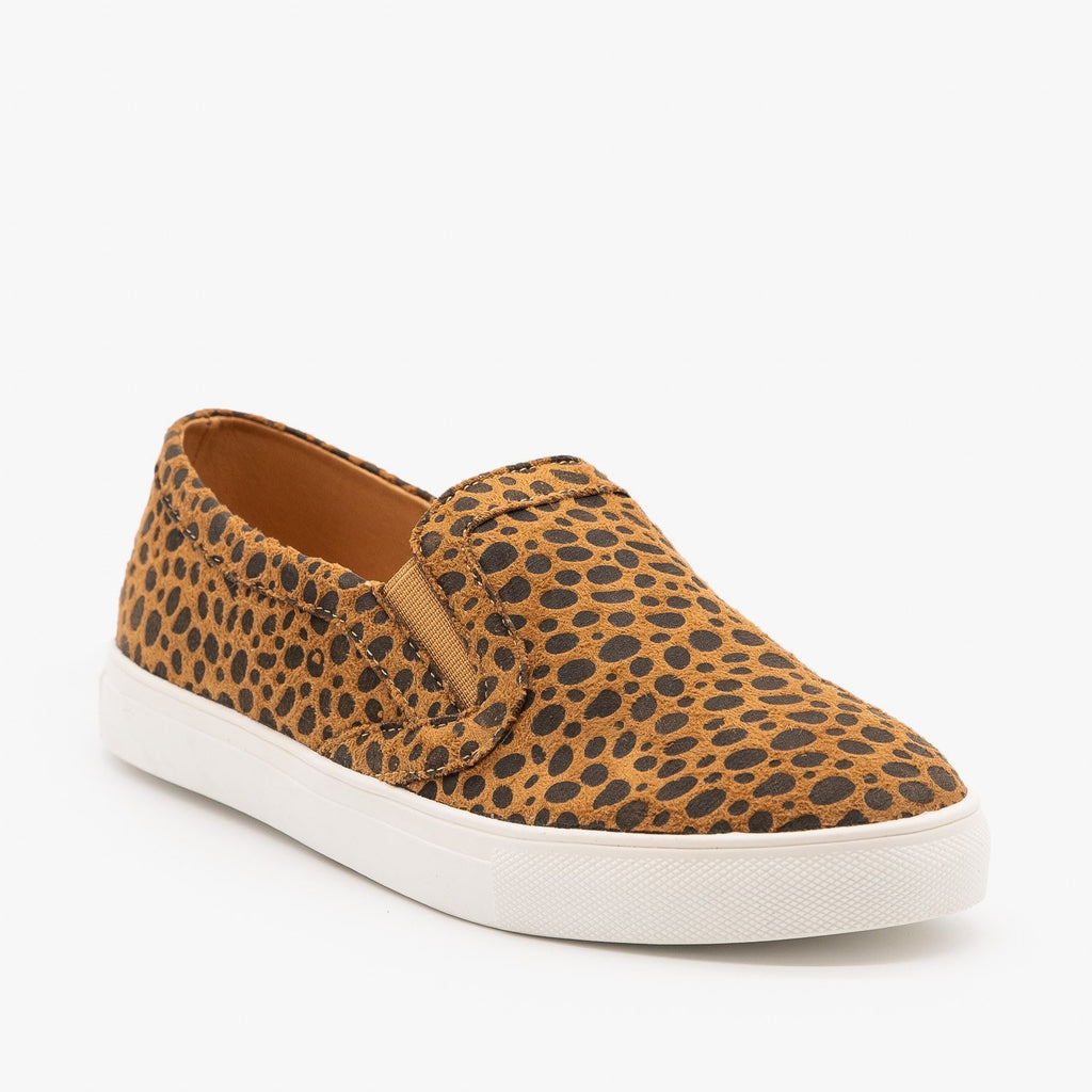 Womens Cheetah Print Slip On Sneakers - Mata - Cheetah / 5