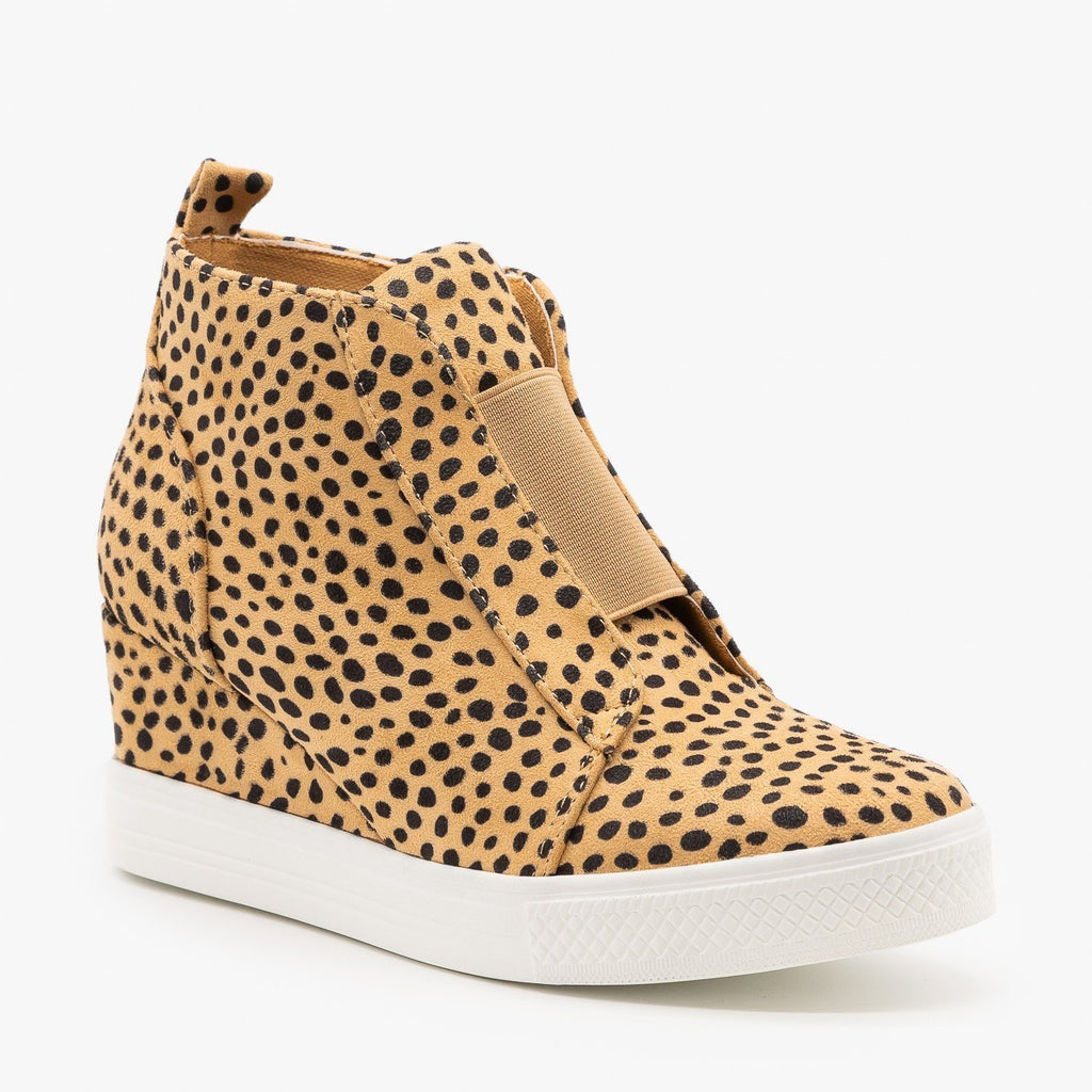 Womens Cheetah Sneaker Wedges - CCOCCI