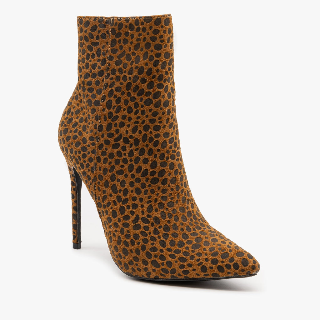 Womens Cheetah Stiletto Booties - Mata - Cheetah / 5