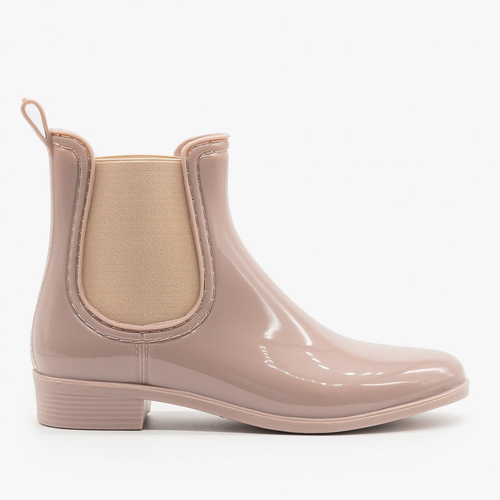 Womens Chelsea Rain Booties - Forever - Nude / 5