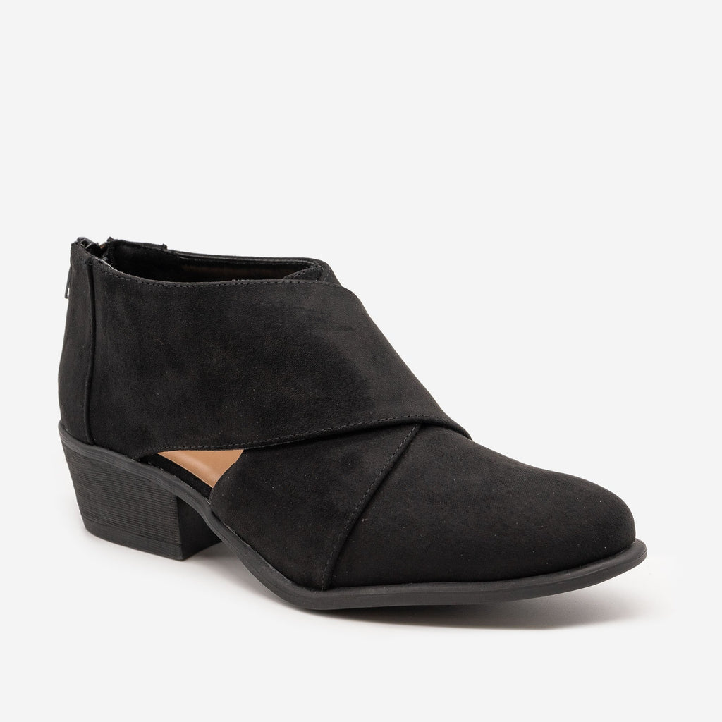 Women's Chic All-Season Booties - Bamboo Shoes - Black / 5