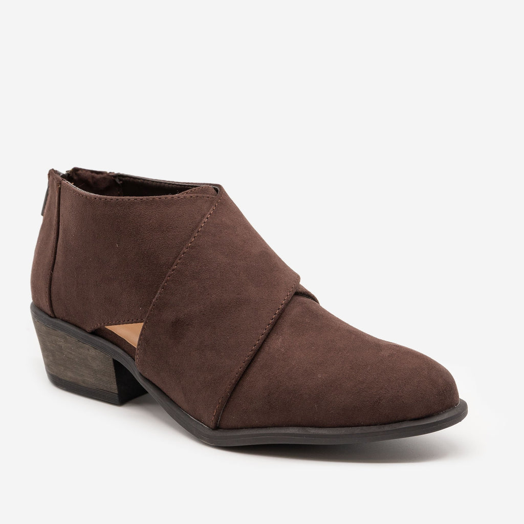 Women's Chic All-Season Booties - Bamboo Shoes - Brown / 5