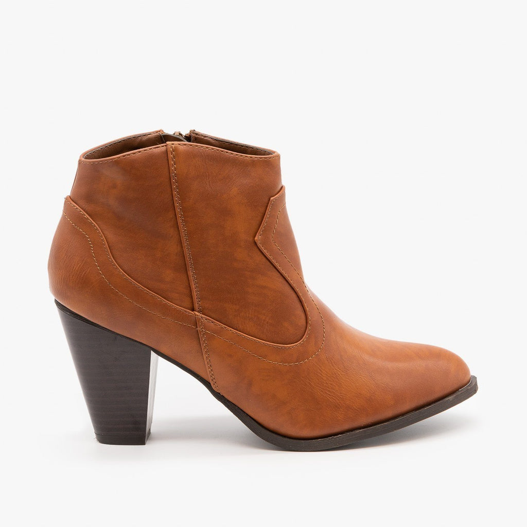 Womens Chic and Classy Cowboy Booties - Bamboo Shoes - Chestnut / 5