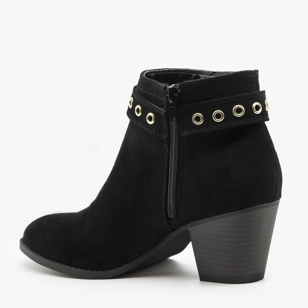 Womens Chic and Edgy Belted Ankle Booties - Qupid Shoes