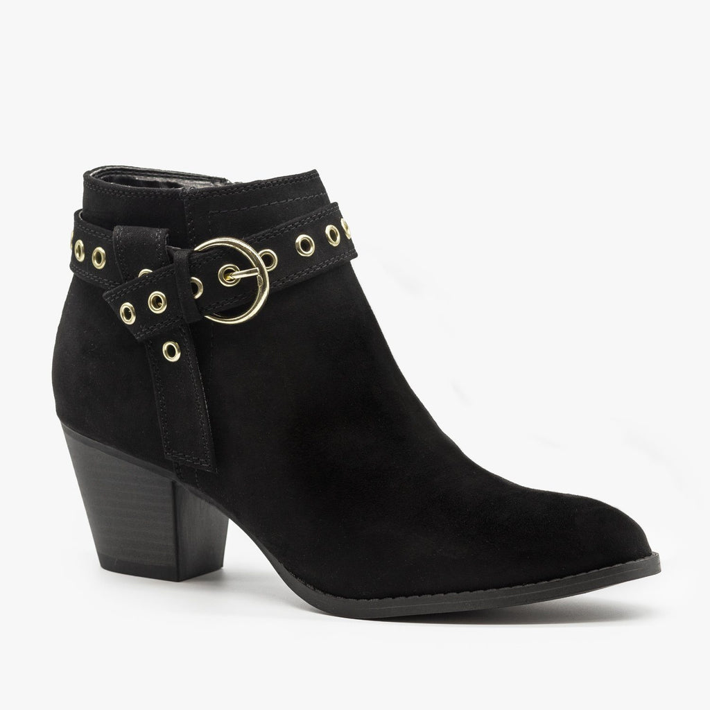 Womens Chic and Edgy Belted Ankle Booties - Qupid Shoes - Black / 5