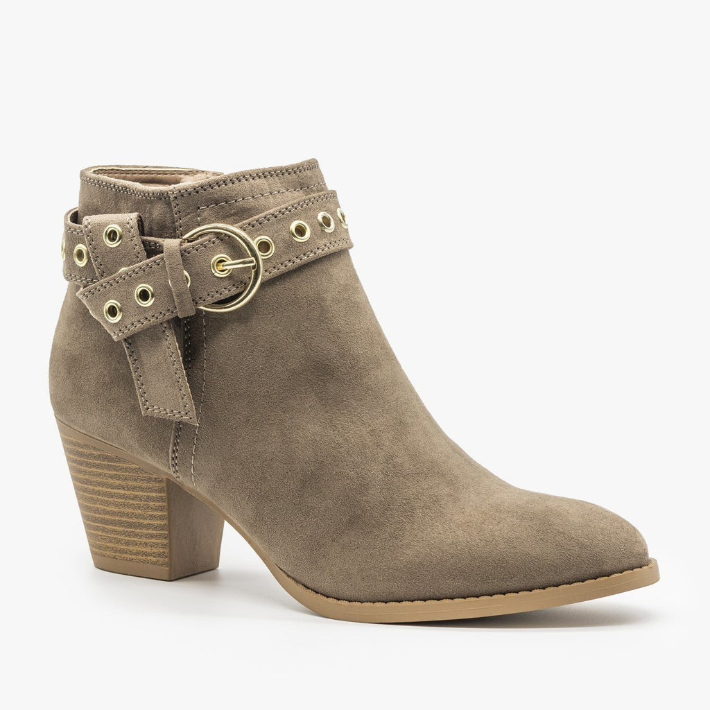 Womens Chic and Edgy Belted Ankle Booties - Qupid Shoes - Dark Taupe / 5
