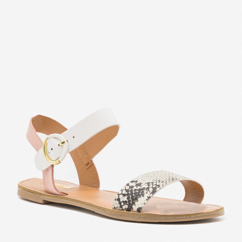 Women's Chic Animal Print Accent Sandals - Qupid Shoes