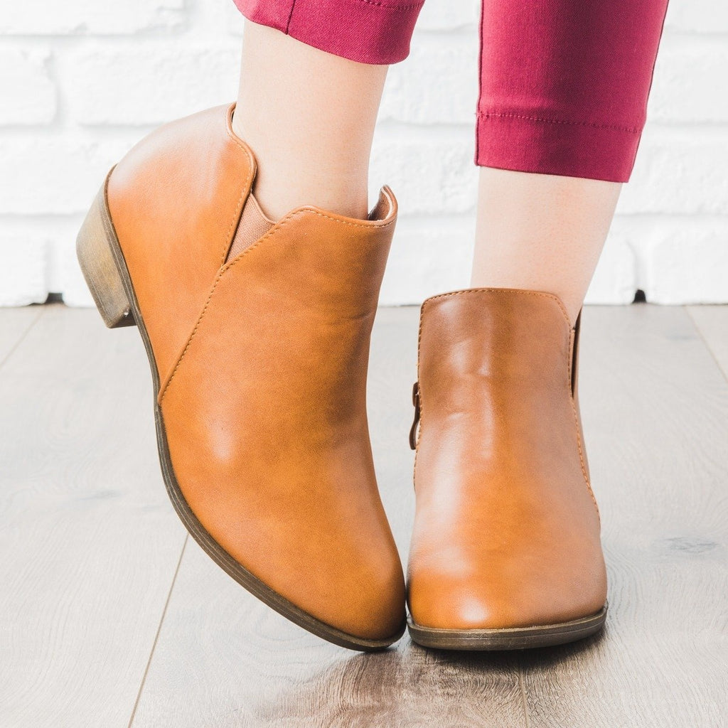 Womens Chic Ankle Booties - Weeboo - Cognac / 5