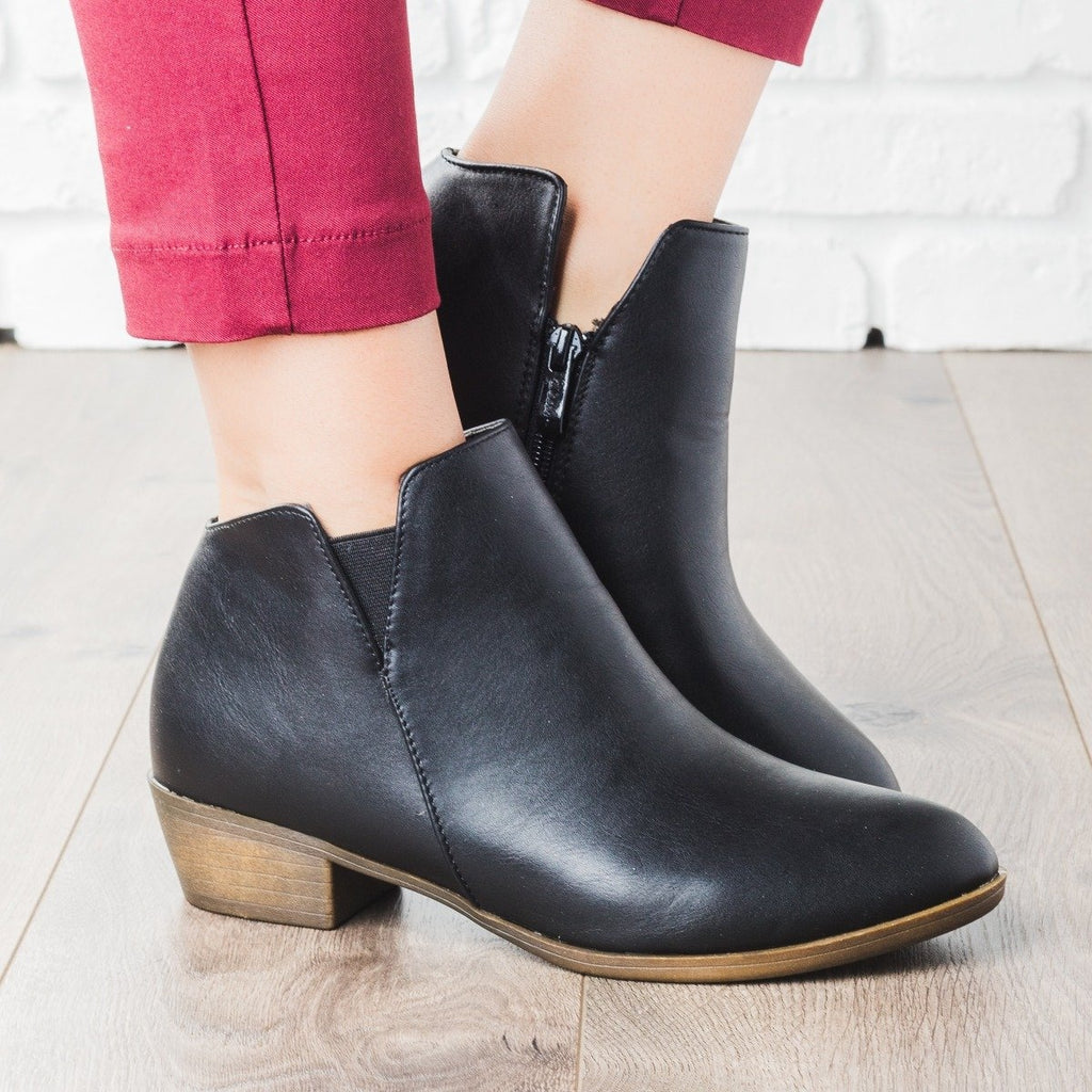 Womens Chic Ankle Booties - Weeboo - Black / 5