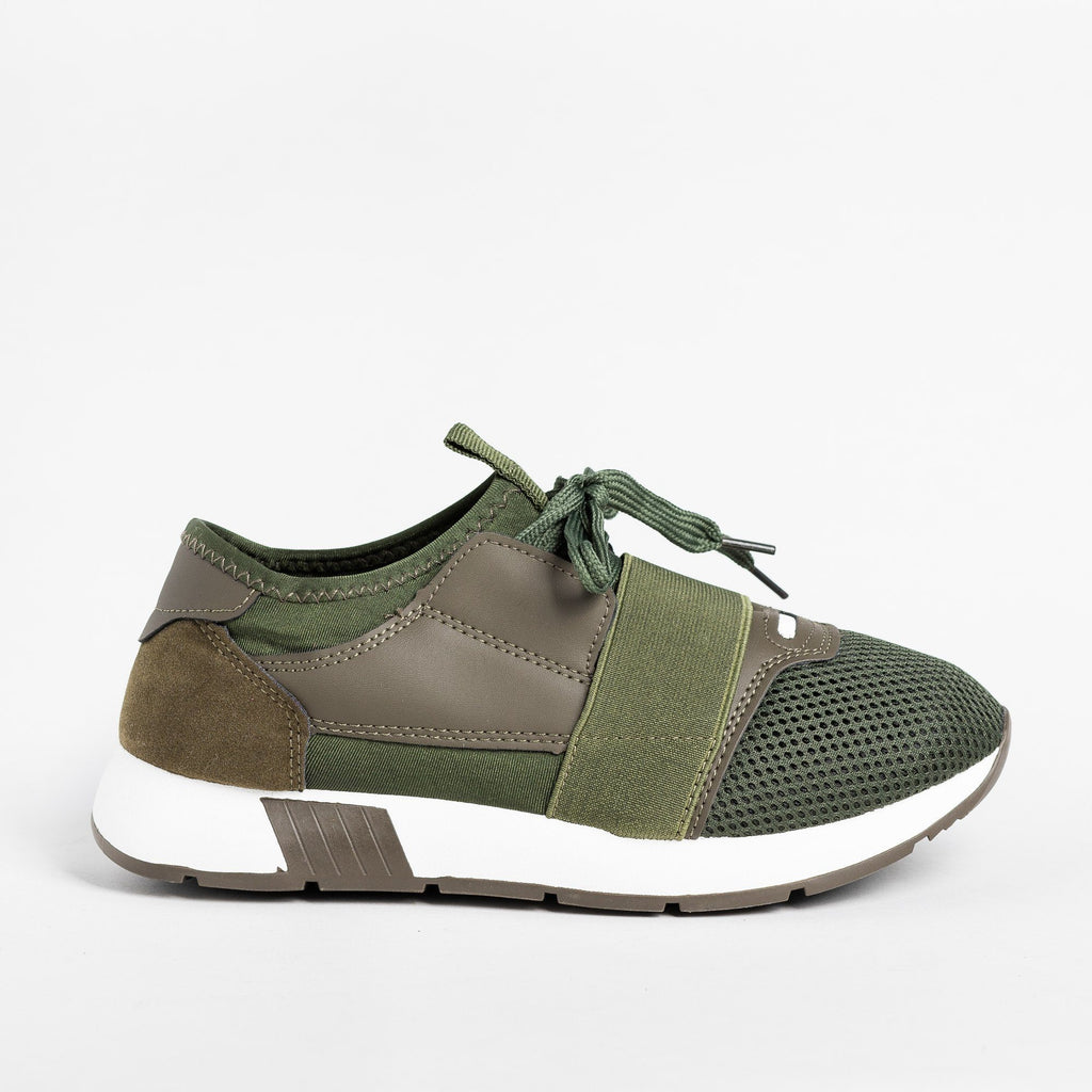 Womens Chic Athleisure Sneakers - Weeboo - Olive / 5