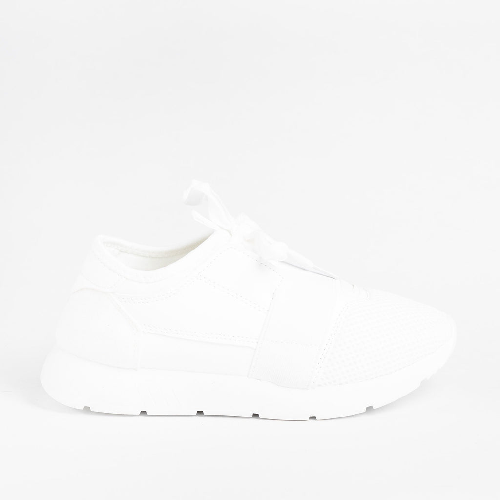 Womens Chic Athleisure Sneakers - Weeboo - White / 5