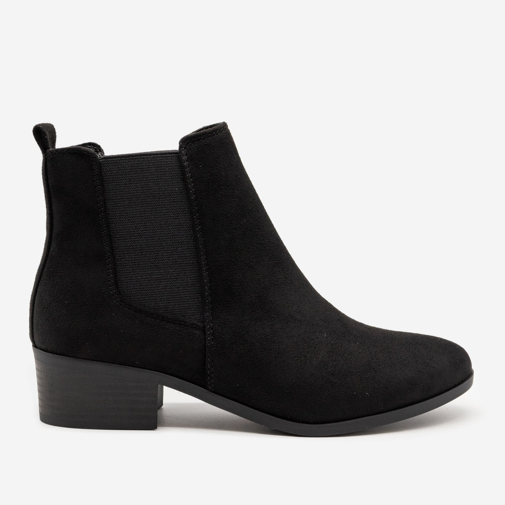 Women's Chic Block Heel Chelsea Boots - Soda Shoes - Black / 5