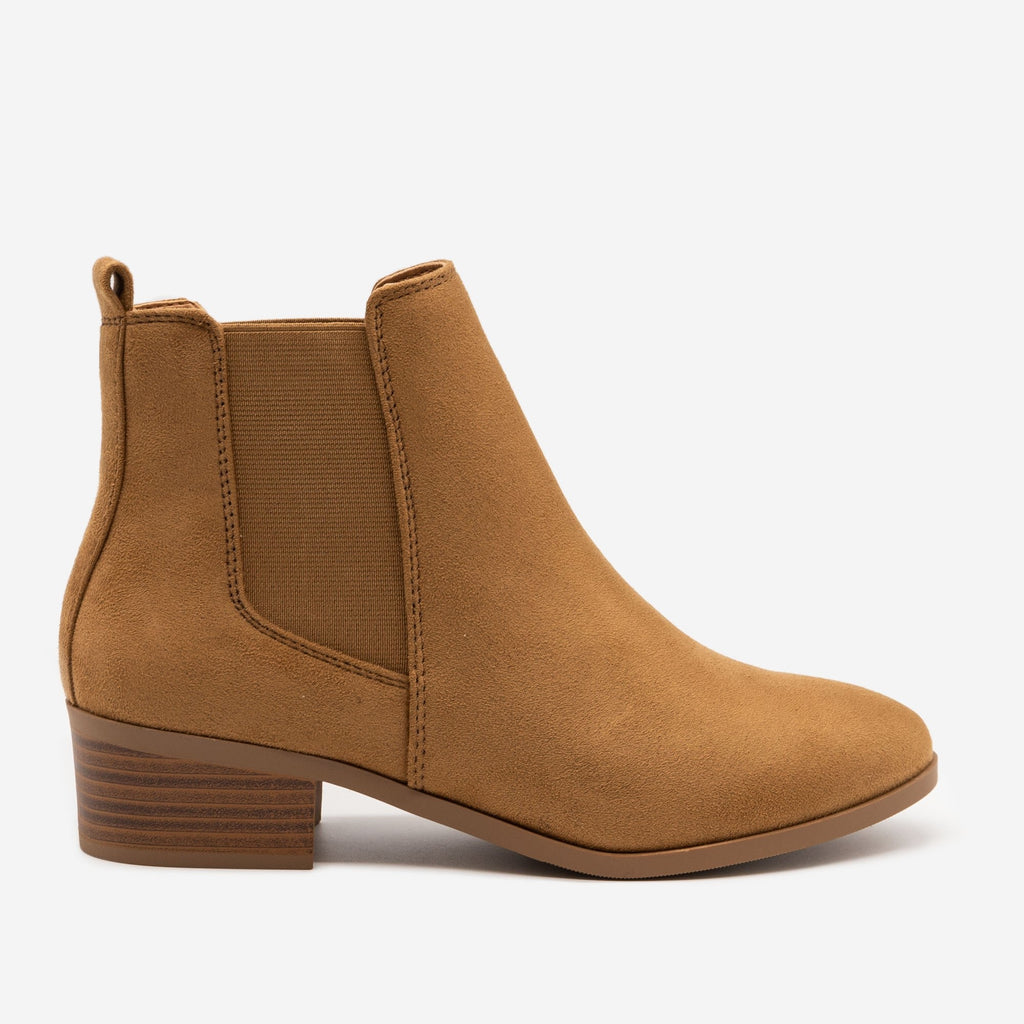Women's Chic Block Heel Chelsea Boots - Soda Shoes - Light Coffee / 5