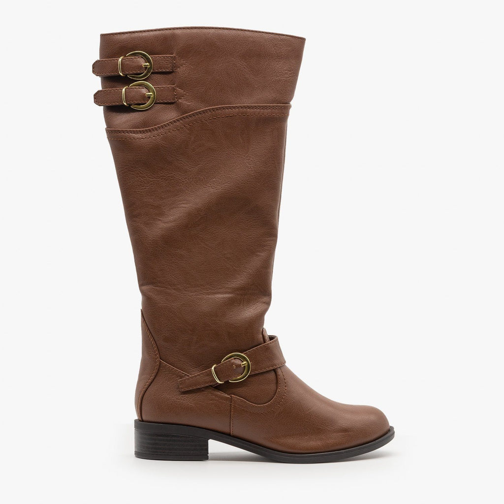 Womens Chic Buckled Riding Boots - Soda Shoes - Tan / 5