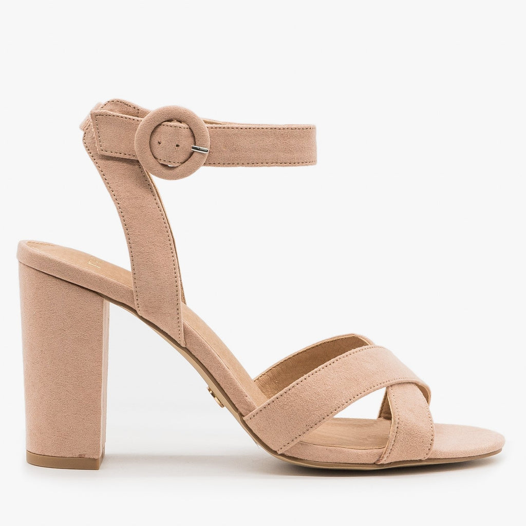 Women's Chic Buckled Summer Heels - Novo Shoes - Nude / 5
