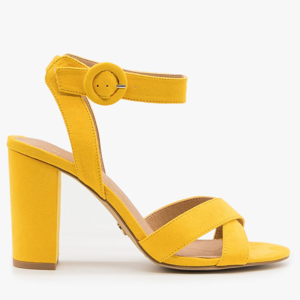 Women's Chic Buckled Summer Heels - Novo Shoes - Marigold / 5