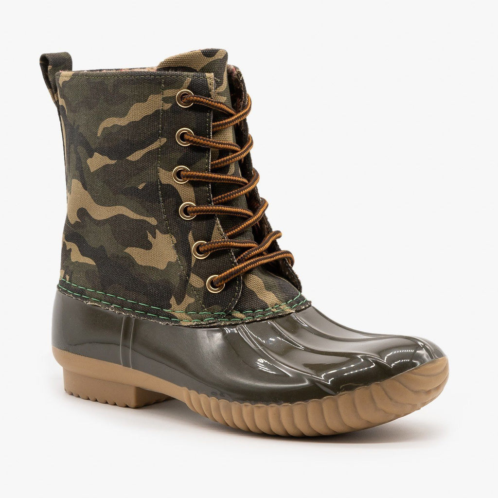 Womens Chic Camo Print Duck Boots - Yoki - Camouflage / 5