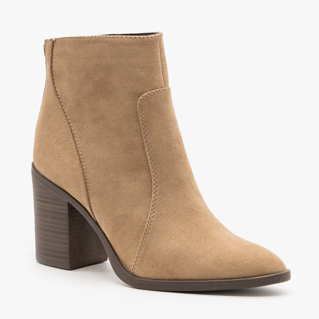 Womens Chic Chunky Heel Booties - Qupid Shoes