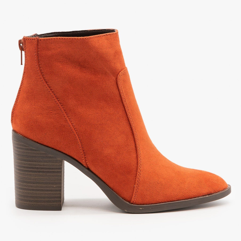 Womens Chic Chunky Heel Booties - Qupid Shoes - Brick / 5