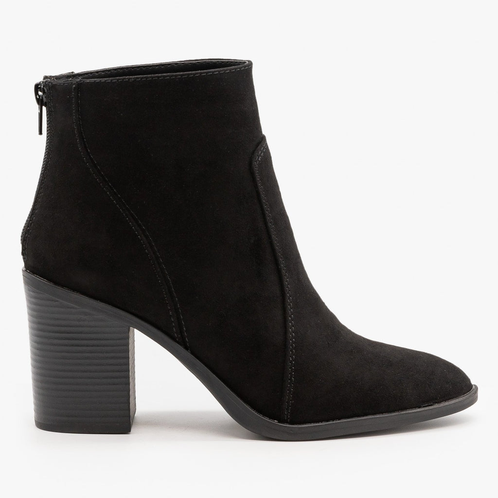 Womens Chic Chunky Heel Booties - Qupid Shoes - Black / 5
