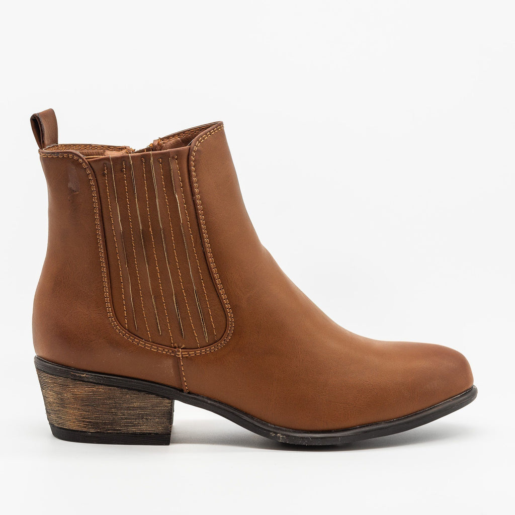 Womens Chic Classic Chelsea Boots - Bamboo Shoes - Chestnut / 5