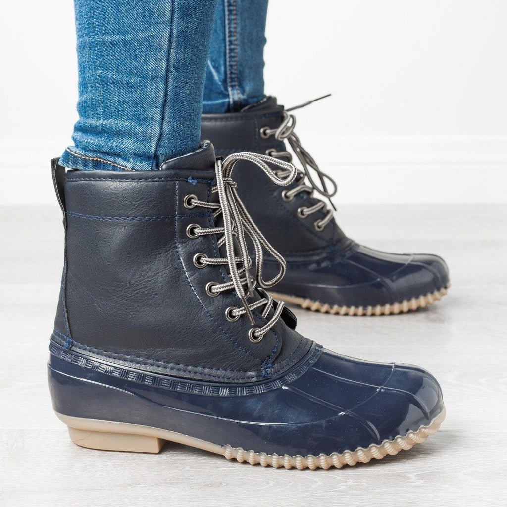 Womens Chic Classic Duck Boots - Via Pinky - Navy / 5