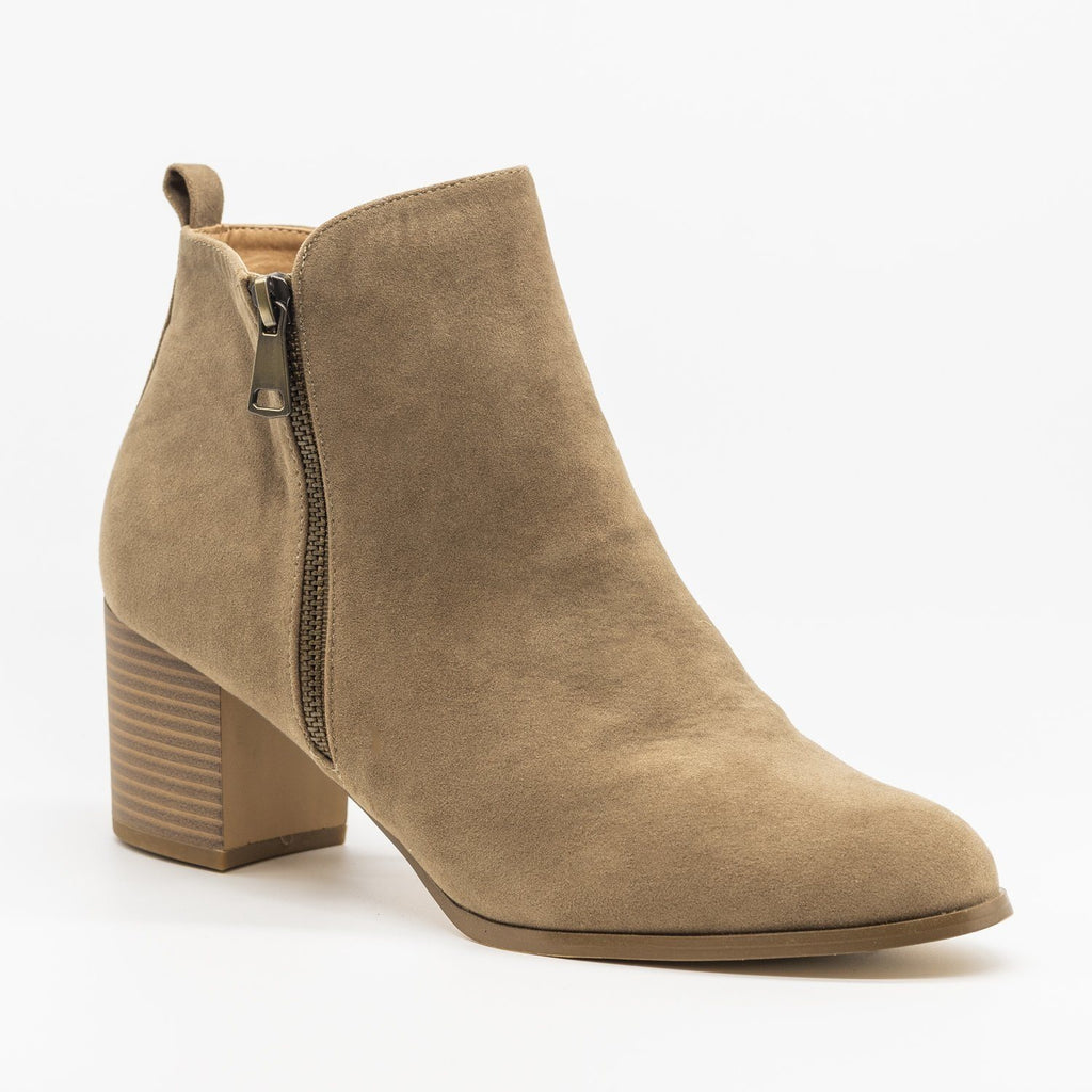 Womens Chic Classic Zipper Booties - AMS Shoes - Taupe / 5